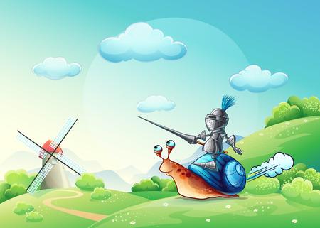 nubes caricatura: Ilustración alegre caballero atacar el molino en la cóclea Vectores