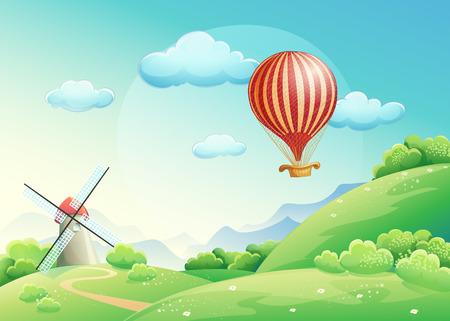 Illustration of summer fields with a mill and a balloon in the sky