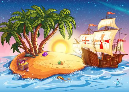 isla del tesoro: Ilustración de la isla del tesoro con la carabela buque