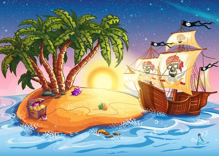 barco pirata: Ilustración de la isla del tesoro y barco pirata