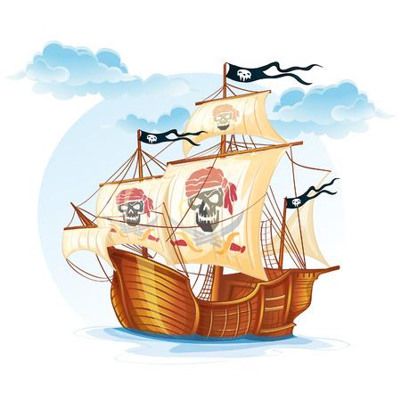 Image caravel ship pirates  XV century-EPS10