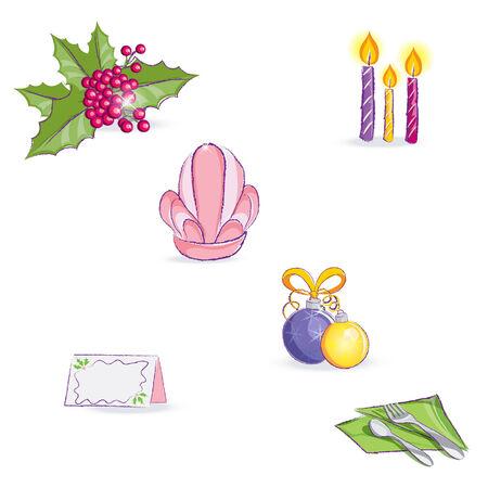 Set of festive items Vector