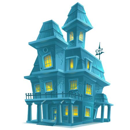 silhouette maison: Aperçu effrayant maison hantée dans Halloween sur fond blanc Illustration