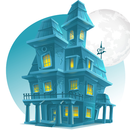 light house: Image of a haunted house on a background of the moon