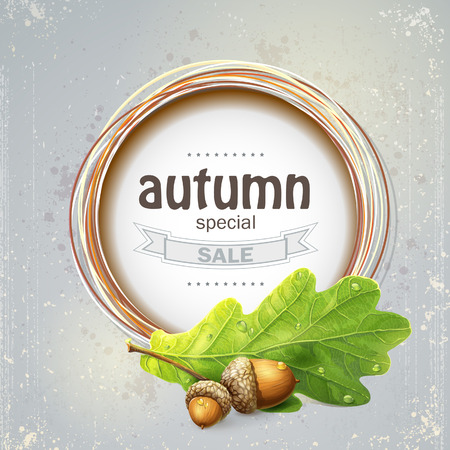 the big autumn sale with oak leaves with acorns Vector