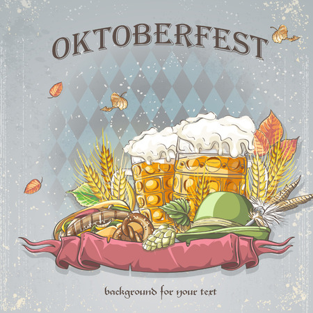 a celebratory background of Oktoberfest Vector