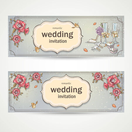 Set of horizontal banners wedding invitations with poppies, glasses, doves and the brides shoe Vector