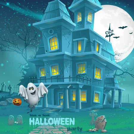 Illustration of a haunted house for Halloween for a party with ghosts Illustration