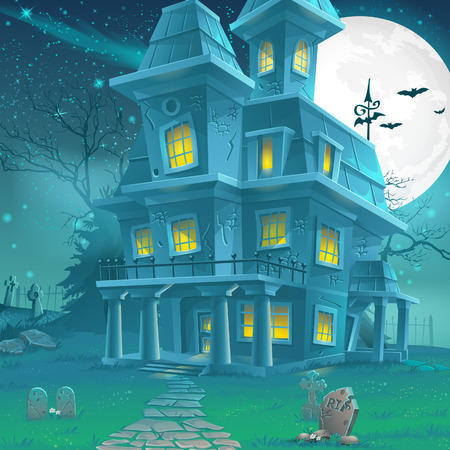 Illustration of a mysterious haunted house on a moonlit night Çizim