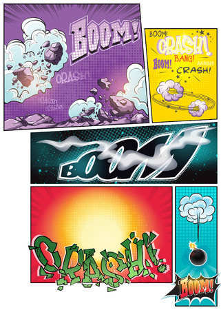 comic strips: Image comic book pages with different background comic strips and various inscriptions boom