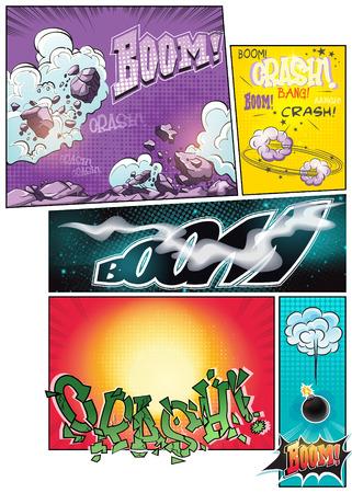 tiras comicas: Imagen c�mica p�ginas del libro con diferentes tiras c�micas de fondo y varias inscripciones de auge