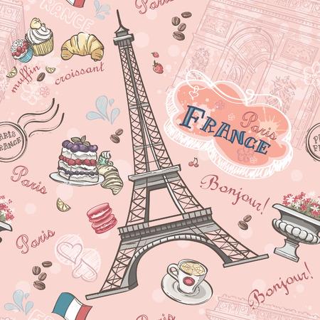 cup cakes: Seamless pattern on Paris from the romantic elements