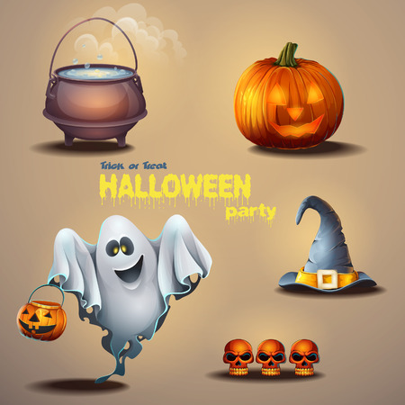 cute ghost: Set of different items for the holiday Halloween, as well as a cute ghost