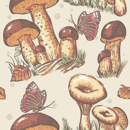 Autumn seamless texture of white mushrooms, saffron milk and autumn leaves