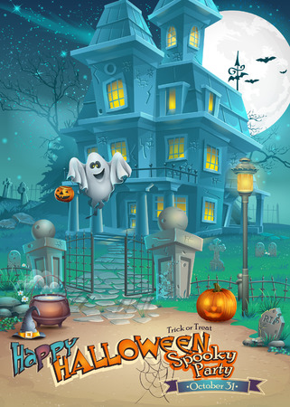 brujas caricatura: Tarjeta de vacaciones con un misterioso Halloween casa embrujada, calabazas asustadizas, sombrero mágico y alegre fantasma Vectores