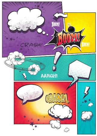 book background: Image comic book pages with different speech bubbles for text, as well as various sounds on a colored background