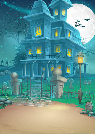 Illustration of a haunted house on a moonlit night Vector