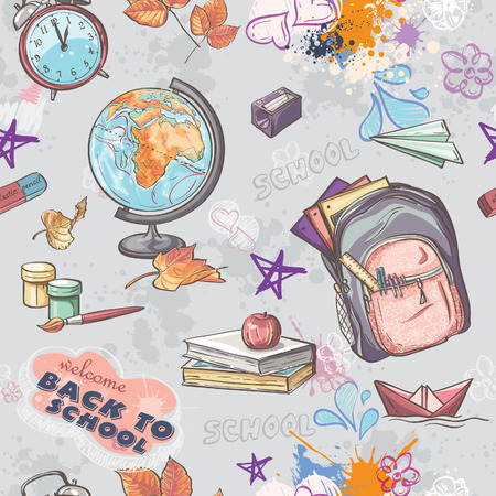Seamless texture on a school theme with the image of a backpack, globe, paint and other items Illustration