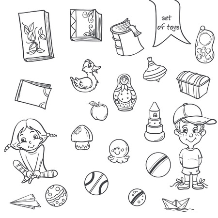 toy chest: Set of toys, books for boys and girls in the loop on a white background Illustration