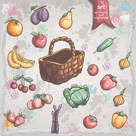 plumb: Set of vegetables and fruits with a wicker basket