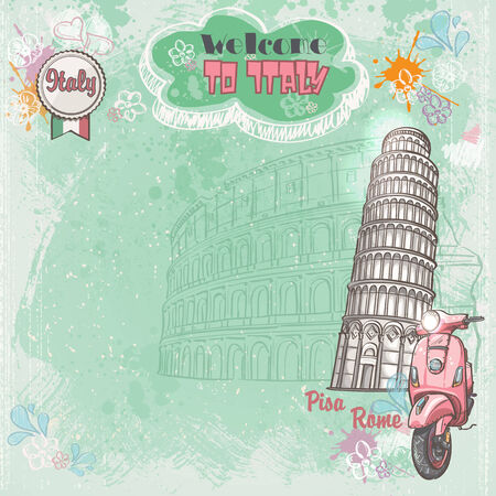 colloseum: Background of Italy for your text with the image of the Colosseum, the Leaning Tower and pink moped