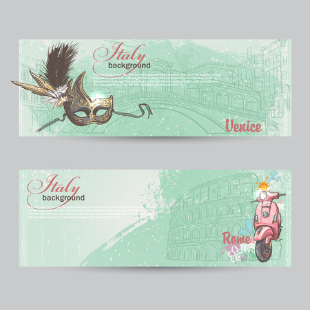 colloseum: Set of horizontal banners of Italy. Cities of Rome and Venice with a mask and a pink moped