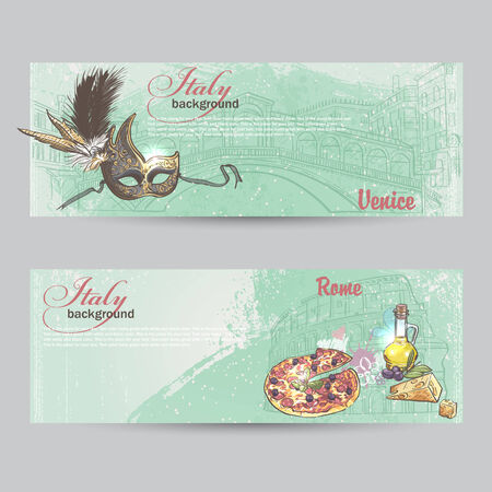 colloseum: Set of horizontal banners of Italy. Cities of Rome and Venice mask, Pitz, cheese and a can of oil