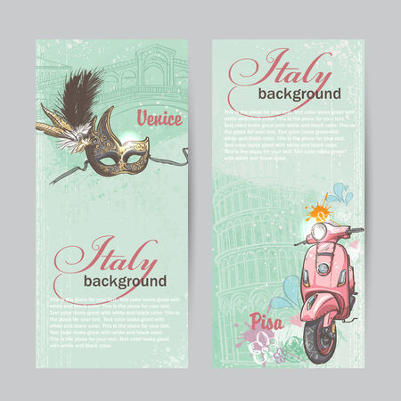 Set of verticall banners of Italy. Cities of Pisa and Venice with a mask and a pink moped Stock Illustratie