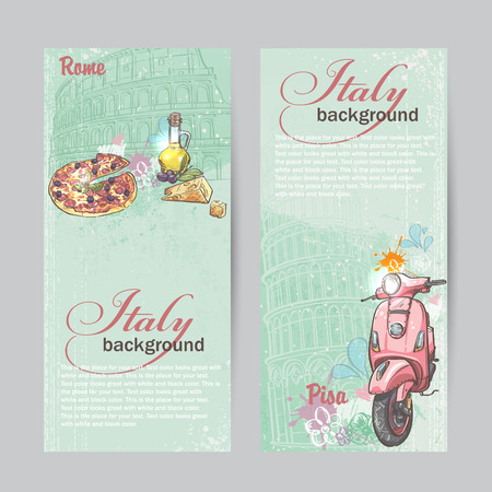 Set of verticall banners of Italy. Cities of Rome and Pisa with the image of a pink moped, pizza, cheese and oil cans Stock Illustratie