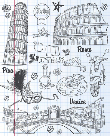 A set of sights in Italy, architecture, food, transportation, items. black contour Stock Illustratie