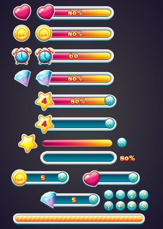 game design: Game icons with progress bar, digging, as well as a progress bar download for computer games Illustration