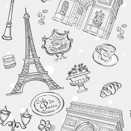 Seamless texture in black outline with the image of the Eiffel Tower, France, and other items Vectores