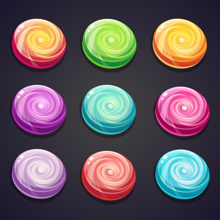 caramel candy: Set of candies of different colors for computer games
