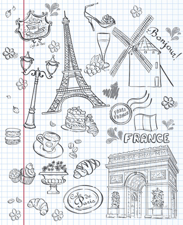 france: Set of images of various attractions in Paris, France