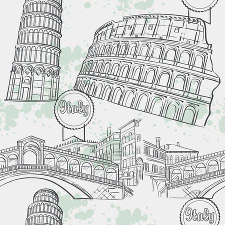 rialto: Seamless texture with the image arhitekturi Italy. The Coliseum, the Ri-alto Bridge, the Tower of Pisa. Illustration