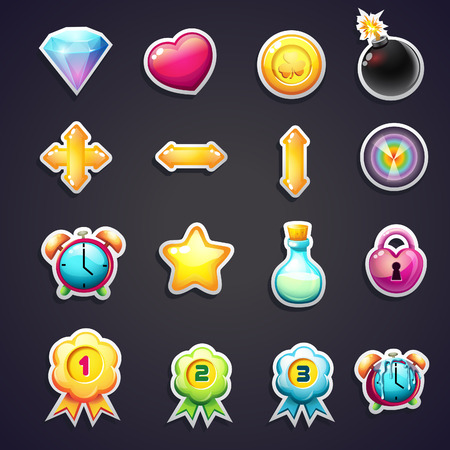 Set of cartoon icons for the user interface of computer games Vector