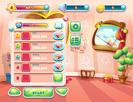 fairy tale princess: An example of one of the screens of the computer game with a loading background bedroom princess, user interface and various element. Set 1.