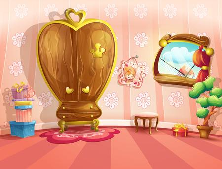 Illustratie van prinses slaapkamers in cartoon-stijl