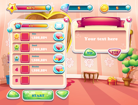 the game: An example of one of the screens of the computer game with a loading background bedroom princess, user interface and various element. Set 2 Illustration