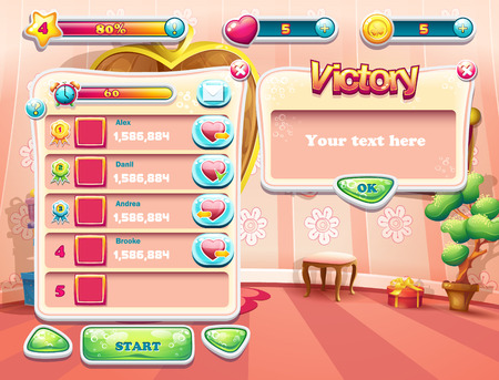 one bedroom: An example of one of the screens of the computer game with a loading background bedroom princess, user interface and various element. Set 3