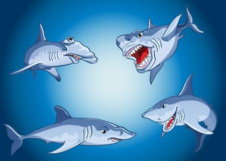 hammerhead: Set of scary sharks in cartoon style