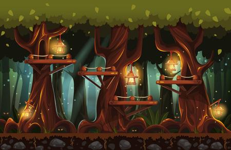 懐中電灯、ホタルと木製の橋との夜に妖精の森林のイラスト