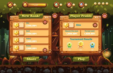 스크린, 버튼의 손전등과 예제와 함께 밤에 요정 숲의 그림은 컴퓨터 게임과 웹 디자인을위한 진행 바. (1)을 설정합니다. 일러스트
