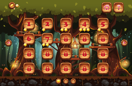 Illustration of the fairy forest at night with flashlights and examples of screens, buttons, bars progression for computer games and web design. Set 4. Vector