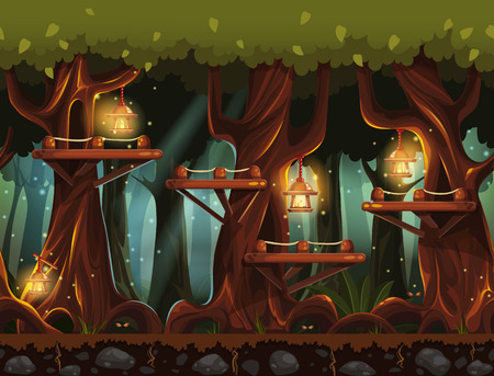 game design: Seamless background fabulous night forest with lanterns, fireflies and wooden bridges in the trees. Illustration