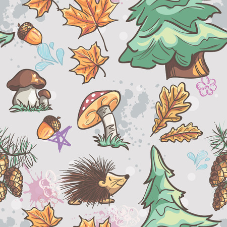 Seamless texture with the image of funny little animals, trees, fungi Vector