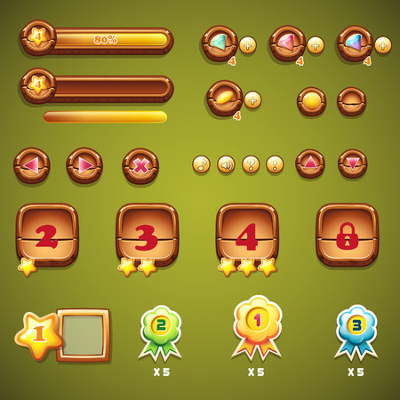Set of wooden buttons, progress bars, and other elements for web design and user interface of computer games Vector