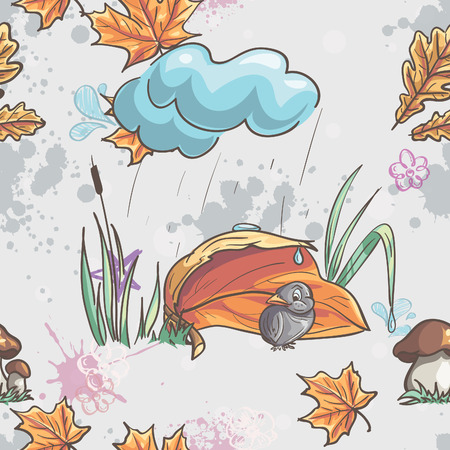 Seamless texture with autumn leaves and a sparrow in the rain Vector