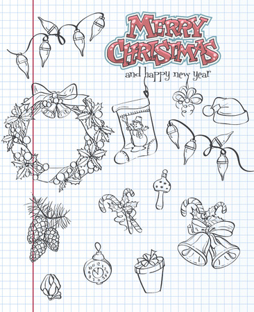 A set of Christmas items. Gifts, toys, garlands. Black contour. Set 2. Vector