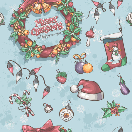 Seamless texture with Christmas wreath, garlands and toys Vector